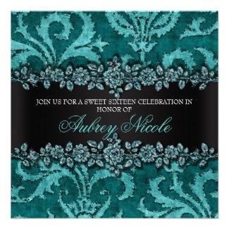 Teal Glitter Velvet Floral Sweet Sixteen Invite