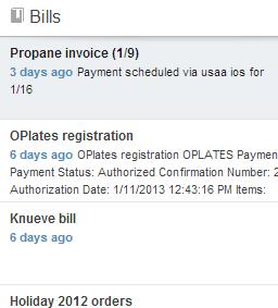 Evernote Web Bills list