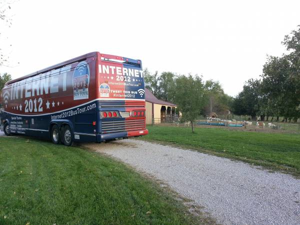 Internet Freedom Bus pulling into Parker Farms