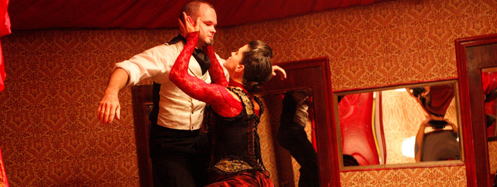 Tom Pearson (White Rabbit) & Rebekah Morin (Red Queen) in Third Rail Projects'